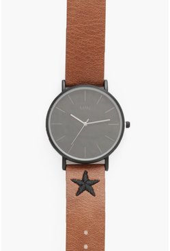 Mens Tan Slim Black Face With Star Stitch Detail