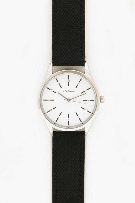 Black Strap Watch With White Dial