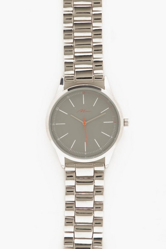 Silver Bracelet Watch With Orange Dial Detail