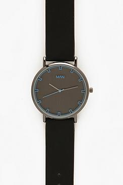 Monochrome Watch In Black With Blue Lens Detail