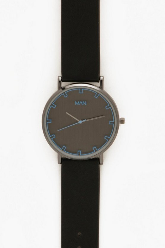 Mens Black Monochrome Watch In Black With Blue Lens Detail
