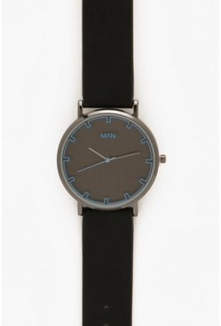 Mens Monochrome Watch In Black With Blue Lens Detail