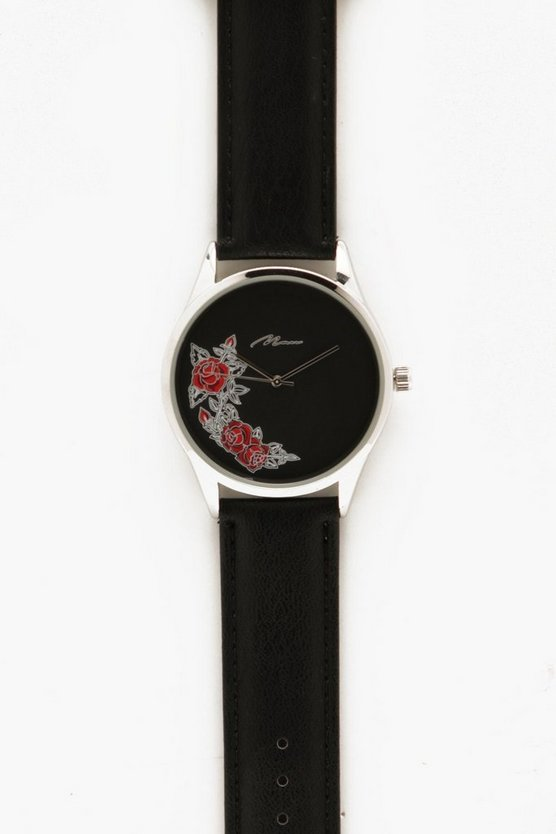 Mens Black Rose Face Watch