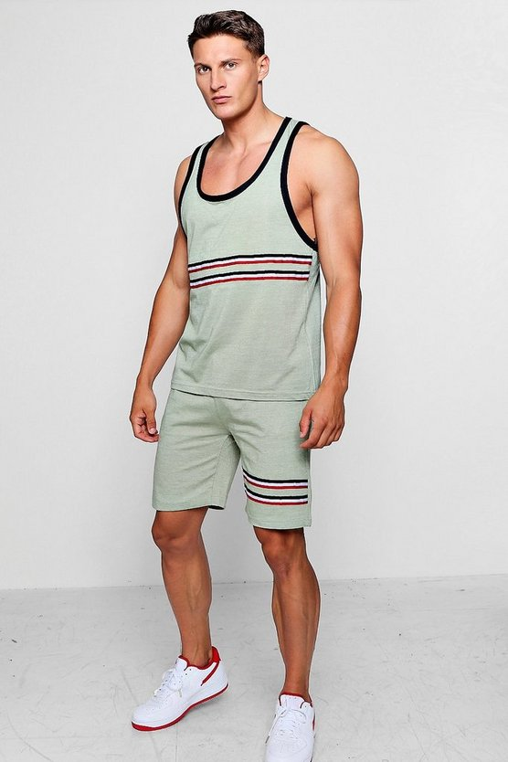 Mens Olive Racer Back Vest And Short Set With Taping
