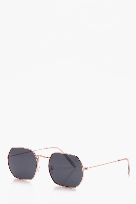 Hexagon Metal Frame Sunglasses | Boohoo