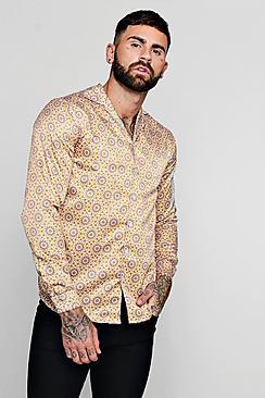 Vintage Shirts – Mens – Retro Shirts Sunflower Print Long Sleeved Revere Shirt $46.00 AT vintagedancer.com