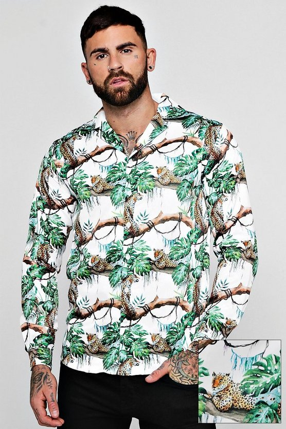 Mens White Leopard Print Long Sleeve Revere Shirt