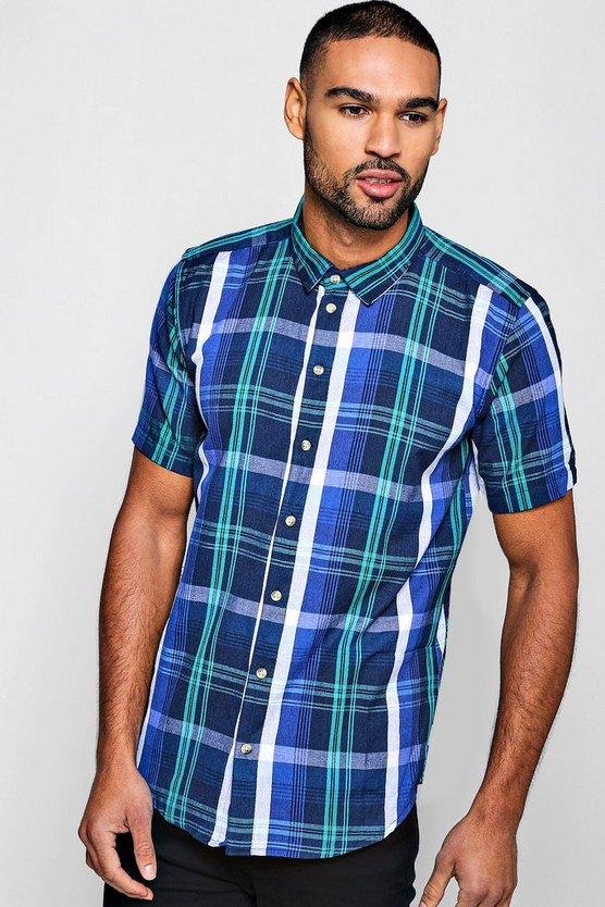 Mens Navy Short Sleeve Flannel Check Shirt
