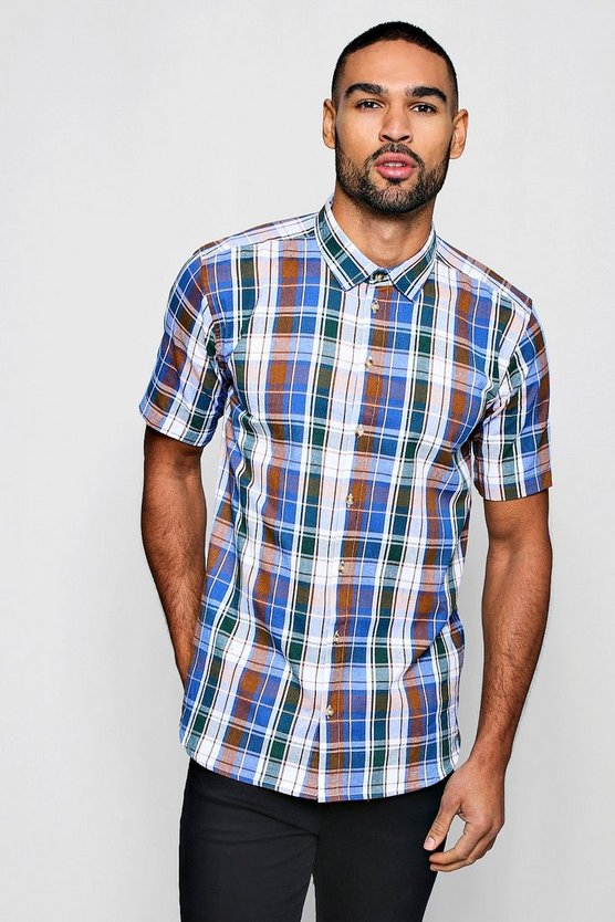 Mens Brown Short Sleeve Flannel Check Shirt