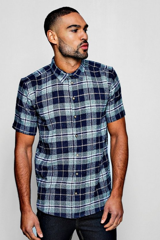 Mens Green Short Sleeve Flannel Check Shirt