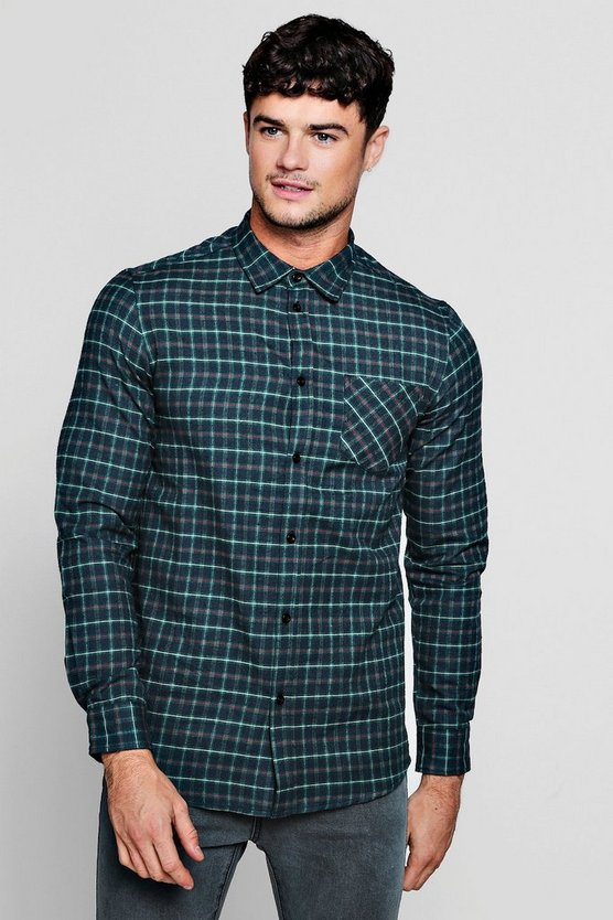 Mens Green Long Sleeve Brushed Check Shirt