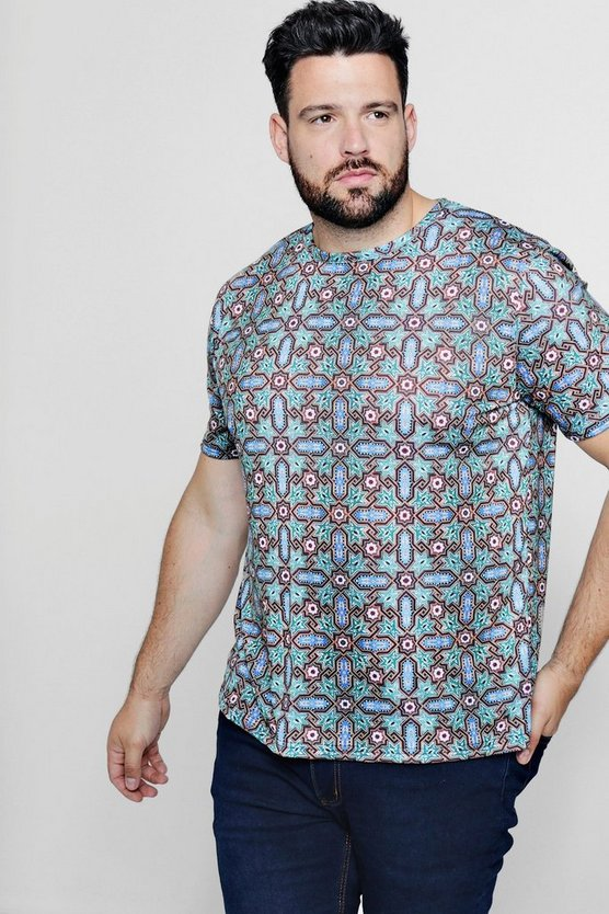 Big And Tall Moroccan Print Longline T-Shirt