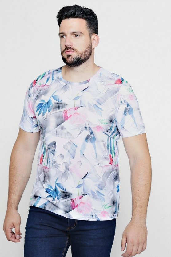 Big And Tall Kurzärmeliges T-Shirt mit Blumen-Print
