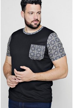 Camisa estampada con bolsillo barroco Big And Tall, Negro, Hombre