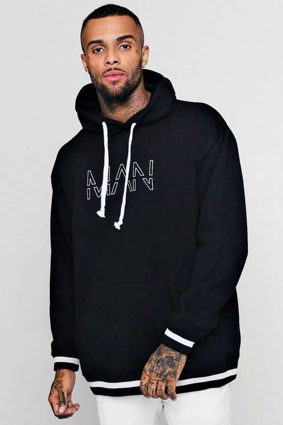 Oversized Original MAN Hoodie With Sports Rib