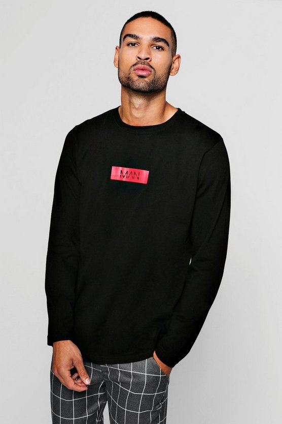 Man Red Box L/S Curve Hem T-Shirt