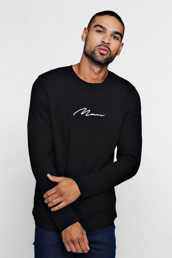 Mens Black MAN Signature L/S Curved Hem T-Shirt