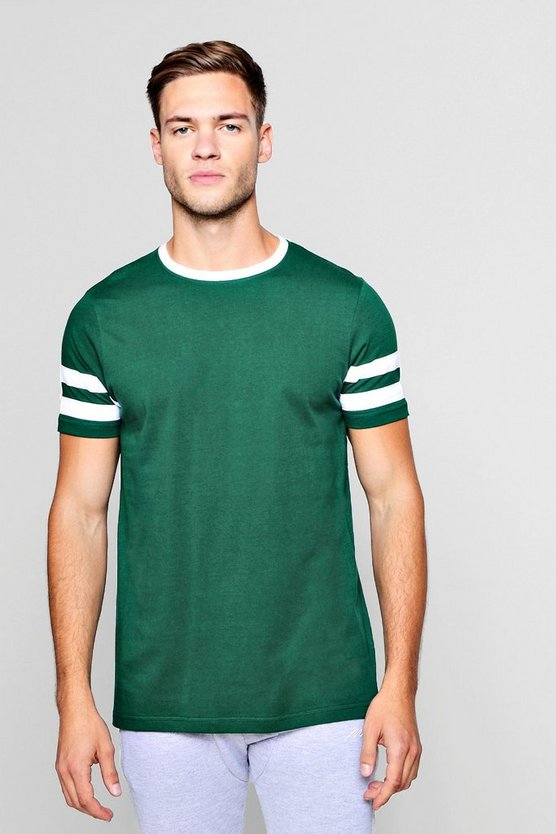 Mens Green Contrast Panel Short Sleeve T-Shirt