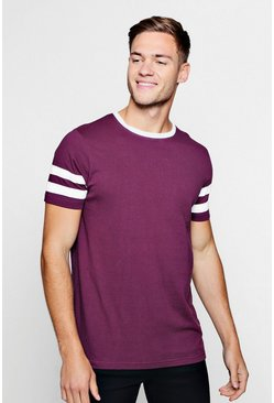Mens Wine Contrast Panel Short Sleeve T-Shirt