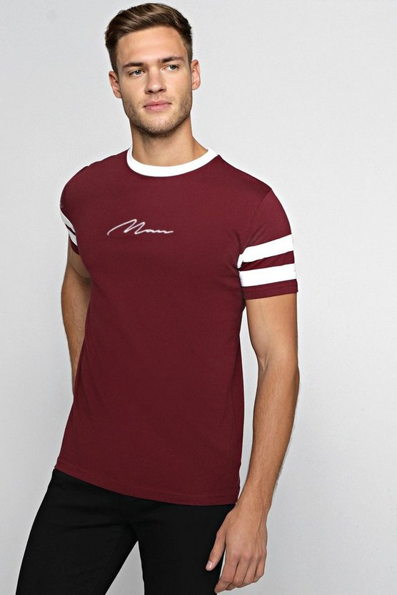 MAN Embroidered Contrast Panel T-Shirt