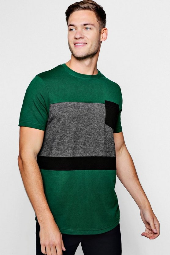 Mens Green Colour Block Curve Hem T-Shirt With Pocket
