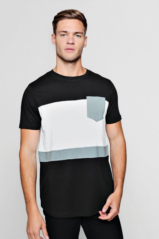 Mens Black Colour Block Curve Hem T-Shirt With Pocket