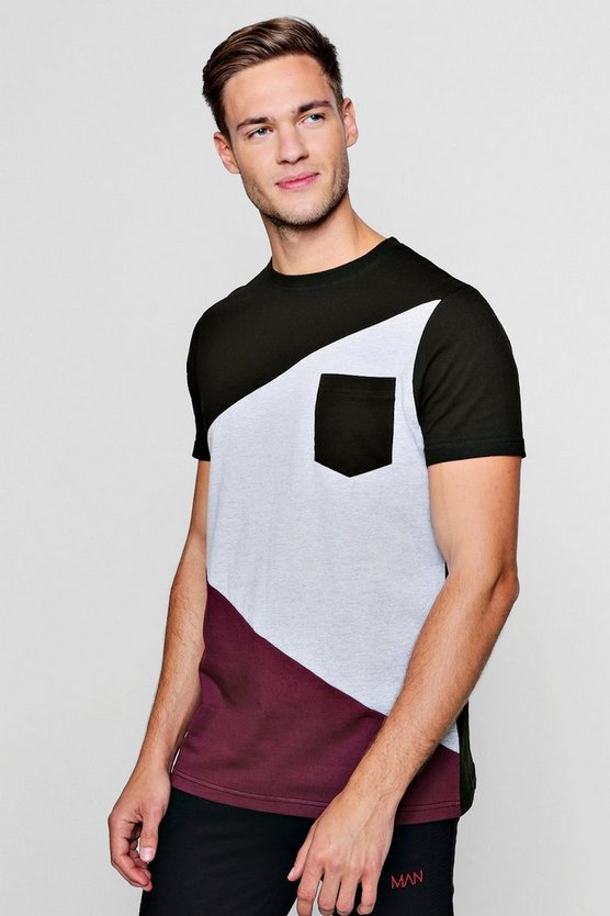 Mens Wine Spliced Colour Block T-Shirt