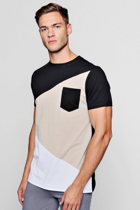 Mens Pumice stone Spliced Colour Block T-Shirt