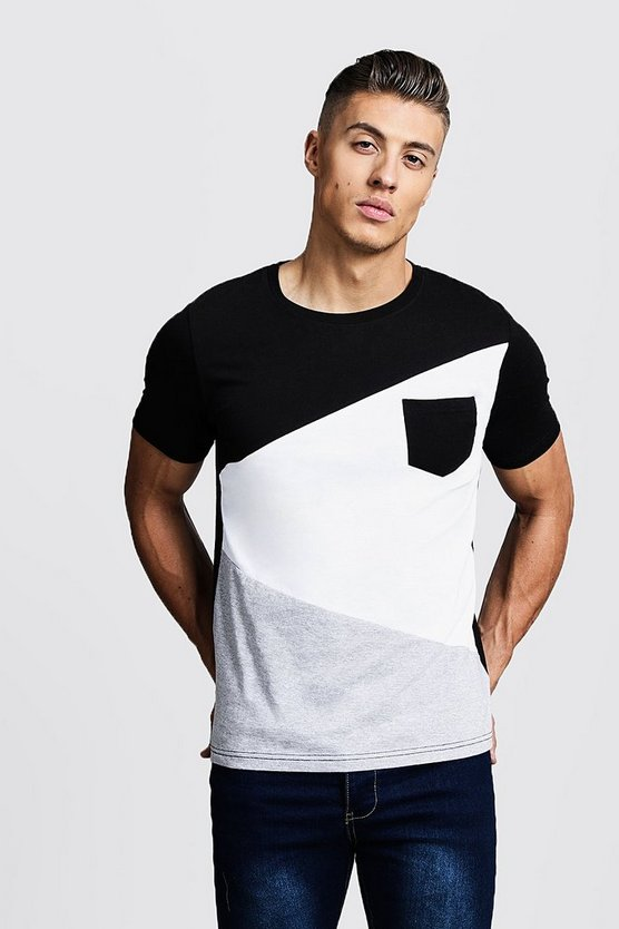 Mens Grey marl Spliced Colour Block T-Shirt