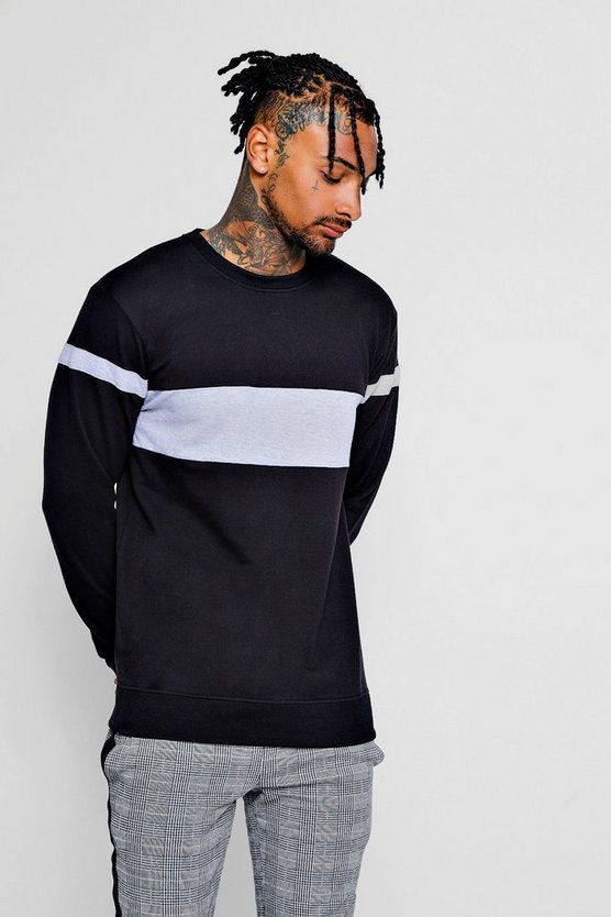 Mens Black Colour Block Arm Detail Crew Neck Sweater