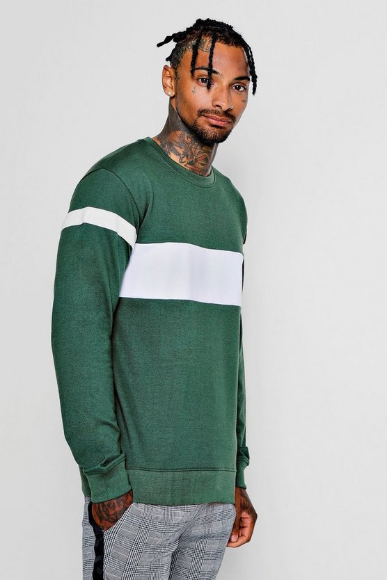 Colour Block Arm Detail Crew Neck Sweater