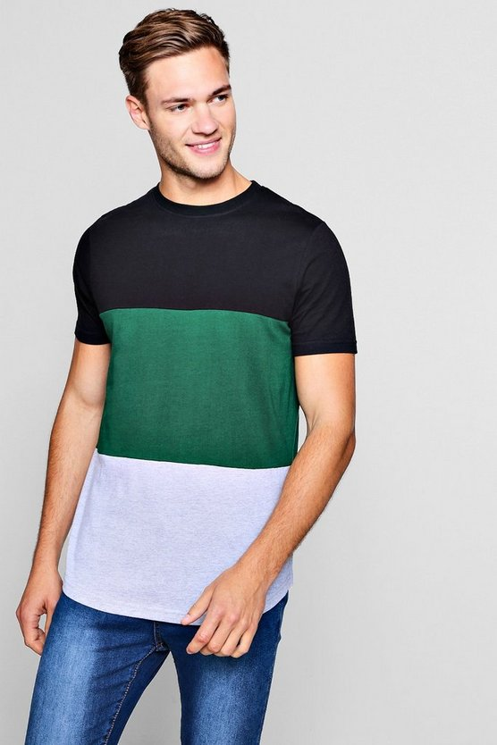 Colour Block T-Shirt With Curve Hem
