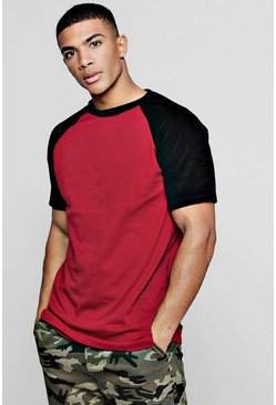 Mens Burgundy Longline T-Shirt With Velour Sleeves