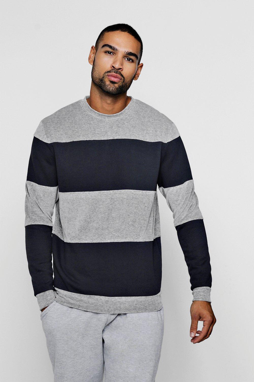 Colour Block Mixed Fabrication Sweatshirt