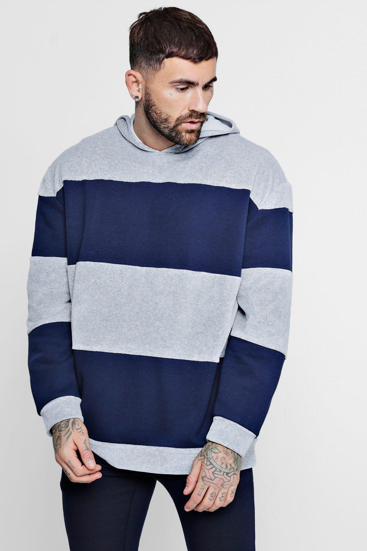 Oversized Fabric Colour Block Hoodie