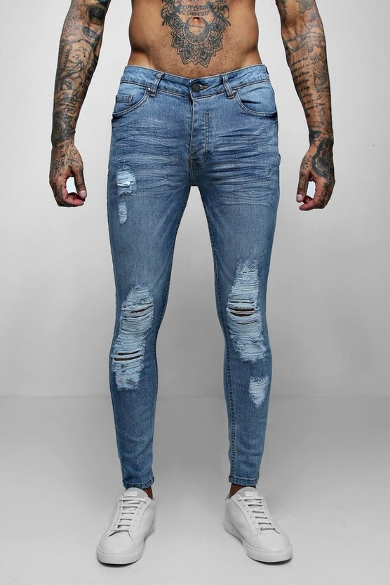 Washed blue Skinny Fit Jeans With Distressed Knees