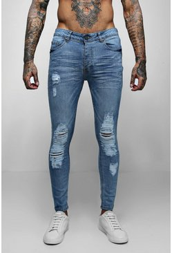 Mens Washed blue Skinny Fit Jeans With Distressed Knees