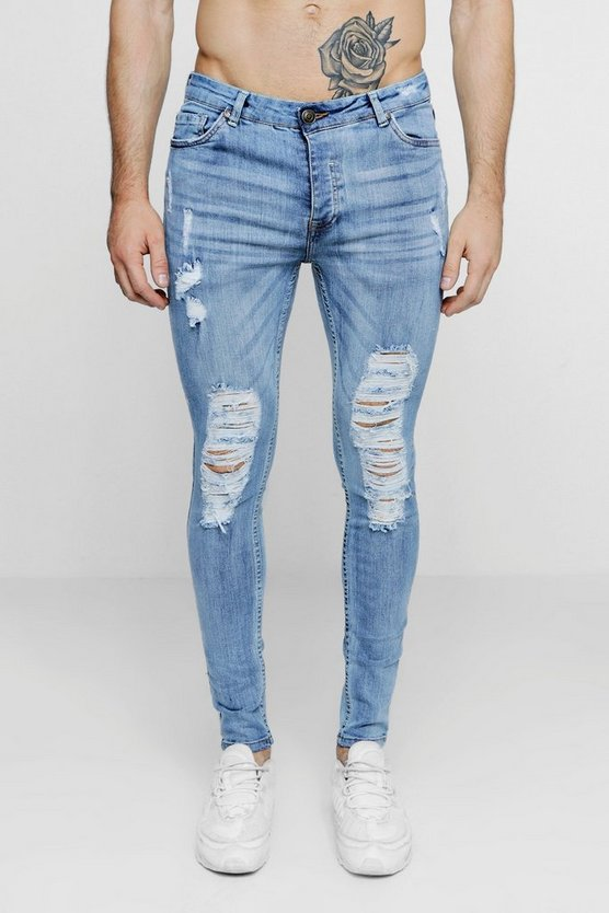 Washed blue Skinny Fit Jeans With Heavy Distressing