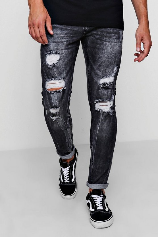Charcoal Skinny Heavily Distressed Acid Wash Jean