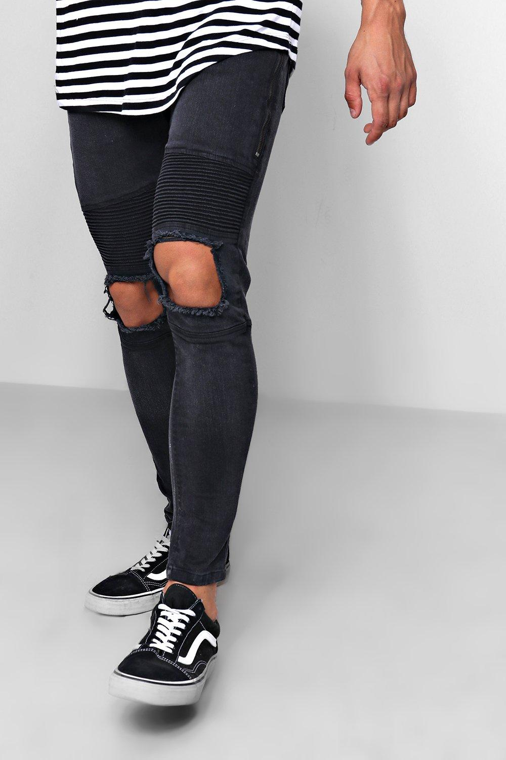 black Biker With Ripped Fit Knee washed Jeans Skinny qCgTwH0n