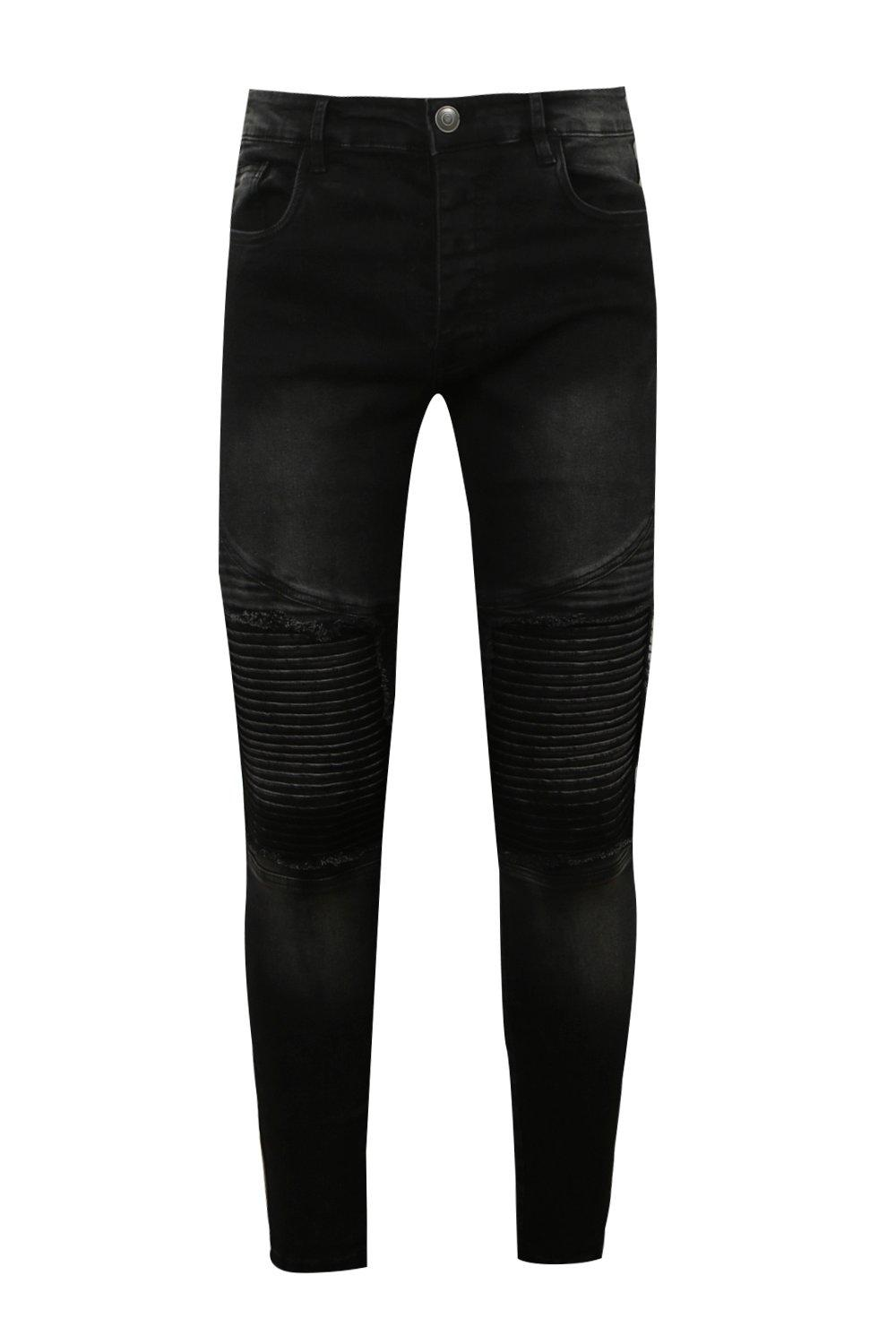 Rip charcoal Skinny Biker Super With Jeans Fit zxYFqX