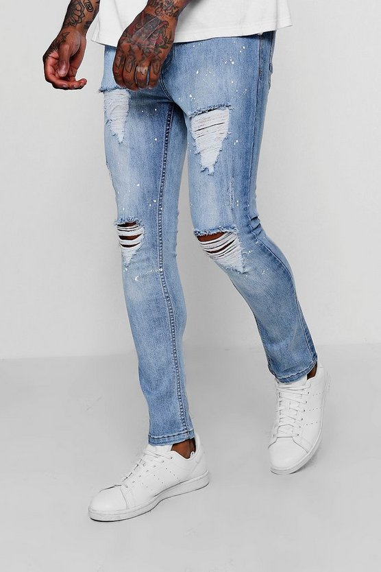 Skinny Distressed Paint Splatter Jeans
