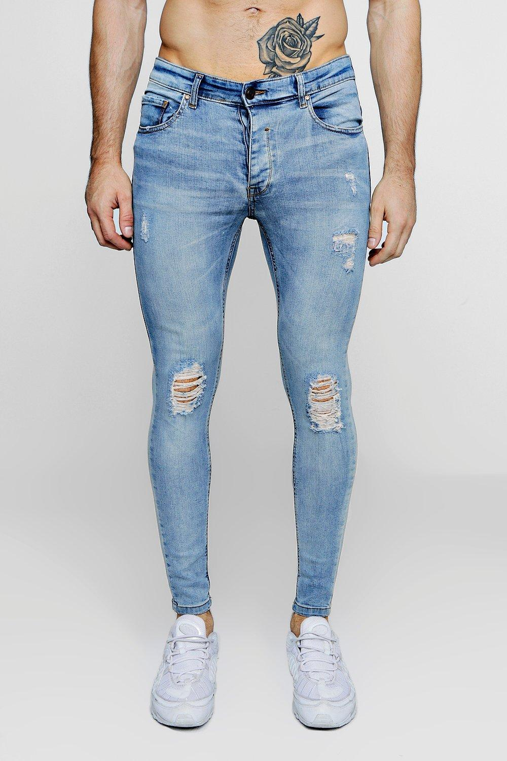 Skinny Rips Super washed knee blue With Fit Jeans 6axxwPHq