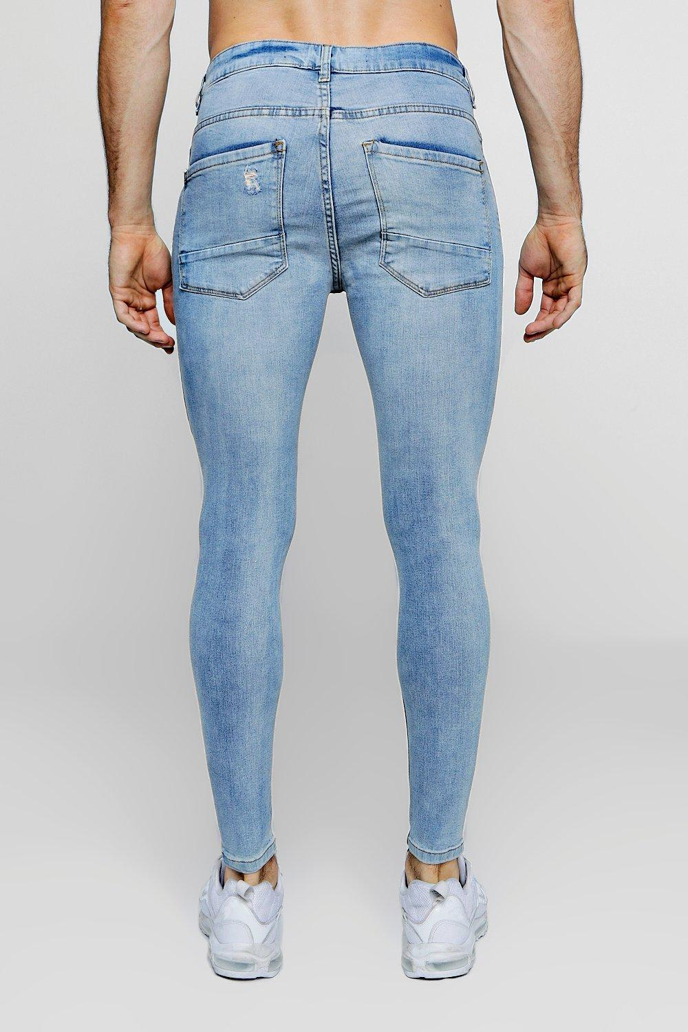 Super blue With Rips washed knee Fit Skinny Jeans RHnqATfR