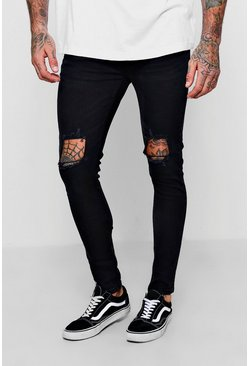 Mens Washed black Skinny Fit Jeans With Ripped Knees