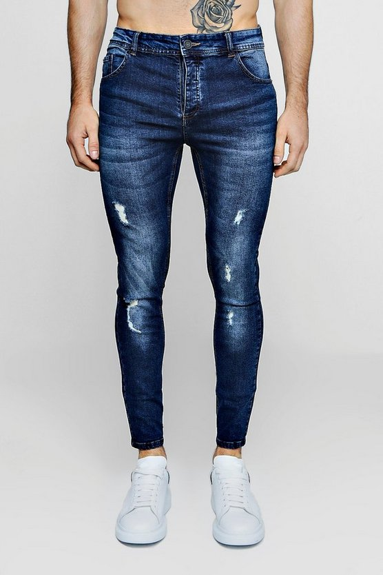 Mens Mid blue Skinny Fit Jeans With Light Distressing