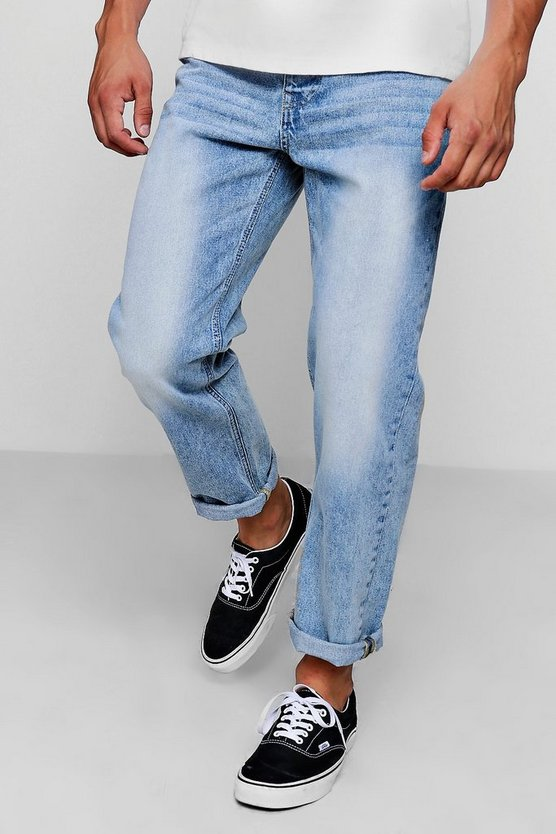 Loose Fit Ankle Grazer Washed Jean