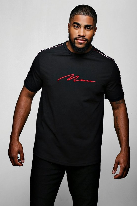"Camiseta larga con firma ""MAN"" Big and Tall, Negro, Hombre"