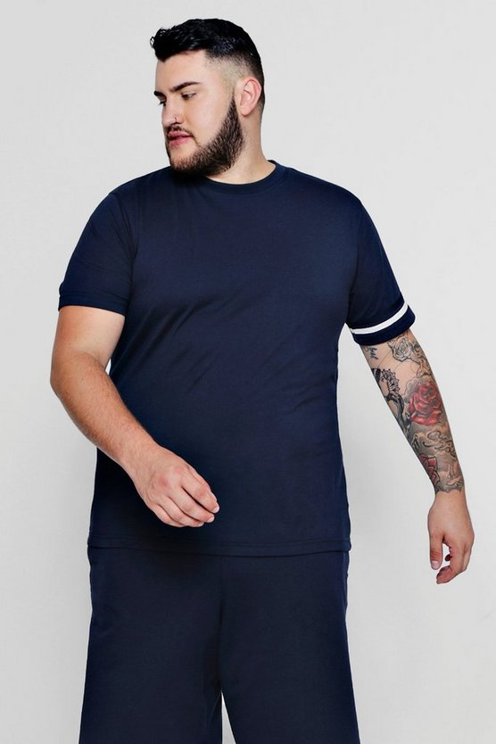 Big And Tall Stripe Detail T-Shirt, Navy, HERREN