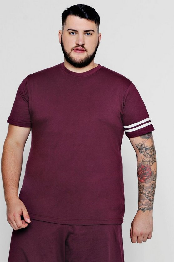 Big And Tall T-Shirt mit Streifendetail, Weinrot, Herren